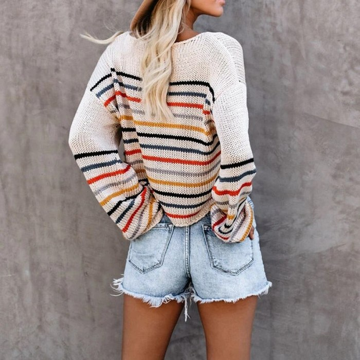 Boho Rainbow Stripe Autumn Winter Sweater For Women Casual Pull Long Sleeve Loose Sweaters 2020 Ladies Pullover Jumper