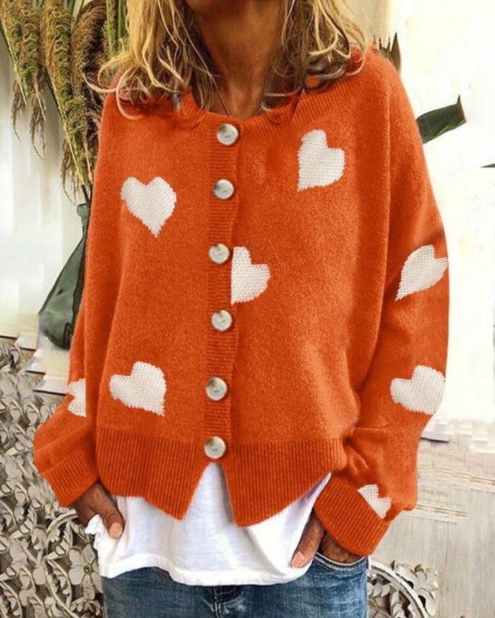 2021 Sweater Cardigan Coats Women Retro Vintage Knit Long Sleeve Single-breasted Hearts Print Sweater Cardigan Coats Plus Size