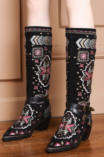 2021 Embroidery Big Size 46 High Quality Winter Shoes Woman Boots Female Chunky Heel Equestrian Boots Shoes Women