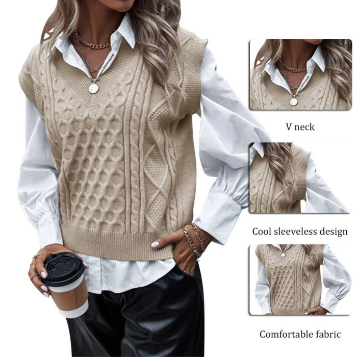 Vest Women Solid Short Loose Trendy Korean Style Sleeveless Knitted V-Neck All-match Female Coats Simple Solid Leisure Outwear