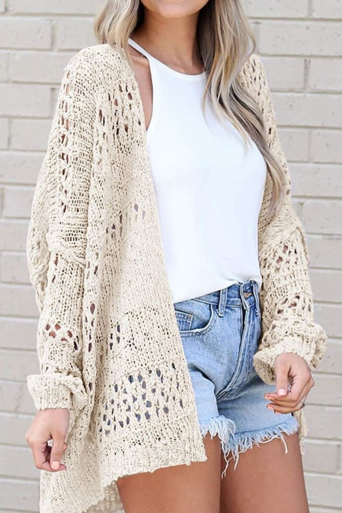 Women Thin Loose Sweater Coat Solid Color Casual V-neck Sweater Loose Knit Cardigan Tops 2021