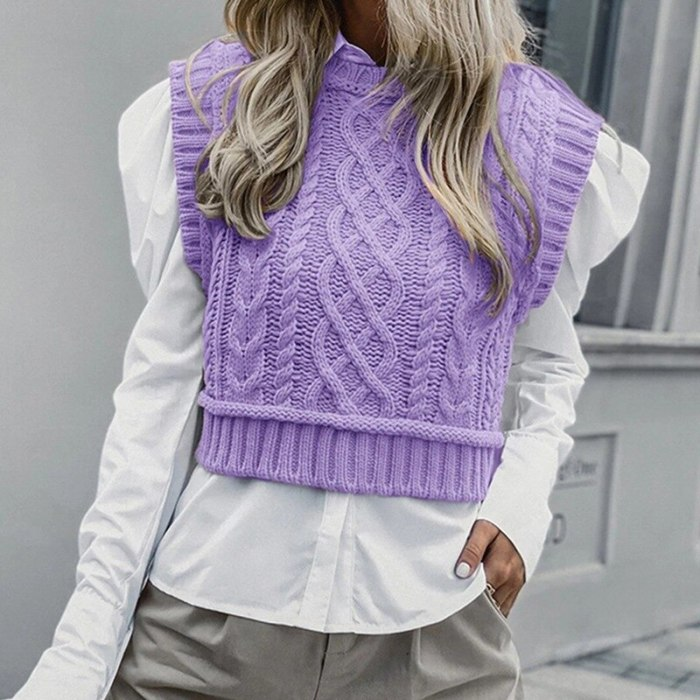 Women Casual Turtleneck Pink Knitted Pullover Vest Autumn Chic Lady Sleeveless Sweaters Girls Cute Knitted Jumpers 2021