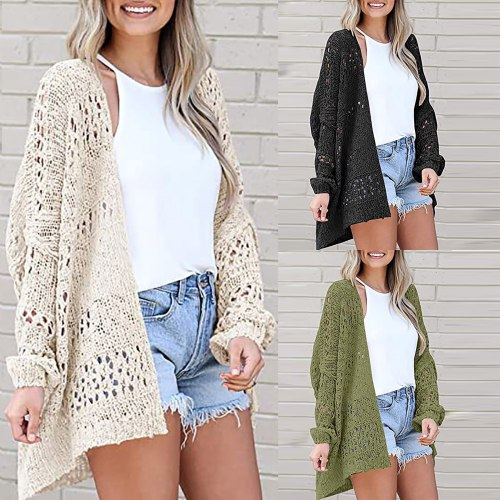Women Thin Loose Sweater Coat Solid Color Casual V-neck Sweater Loose Knit Cardigan Tops Кардиганы Женские 2021