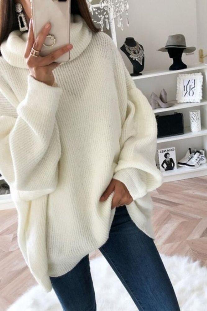 Turtleneck Women Sweater 2021 Winter Europe America Harajuku Pure Color Loose Fashion Top Solid Color Long Sleeve Korean Casual