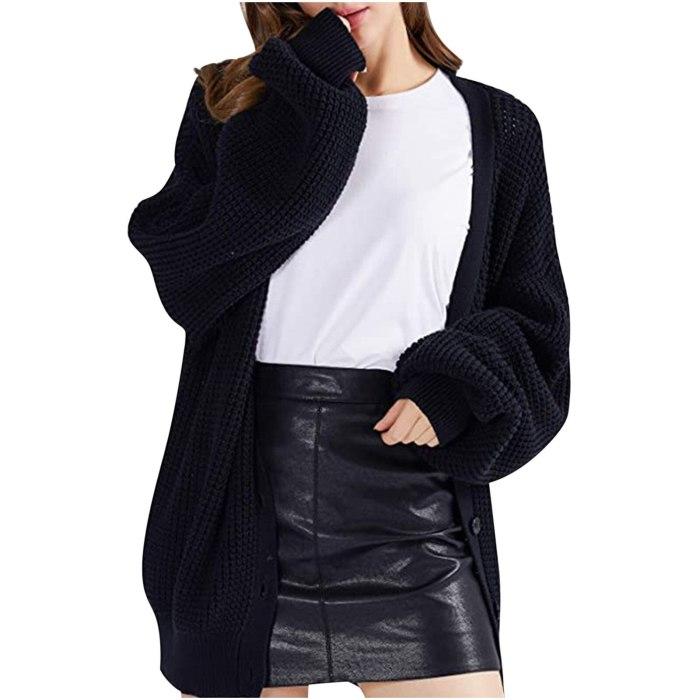 Women Cardigan Knitted Sweater Autumn Winter Long Sleeve Cardigans Casual Streetwear Fashion Coat Button Ladies Tops gilet veste
