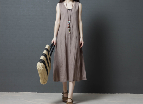 Crew Neck Women Dresses Shift Daily Boho Plain Dresses