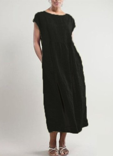 Women Casual Dress Crew Neck Shift Daily Cotton Pockets Dresses