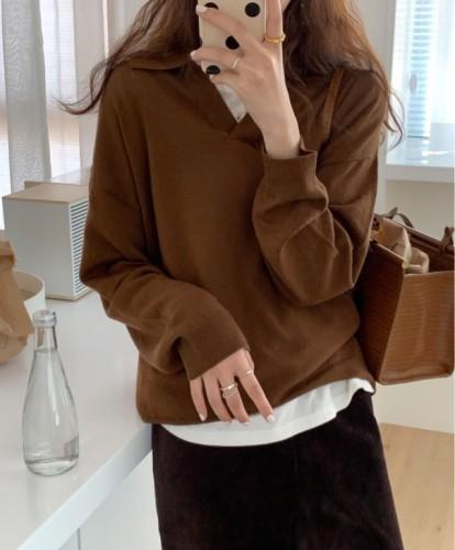 Long Sleeve Solid Cotton Shirt Collar Tops
