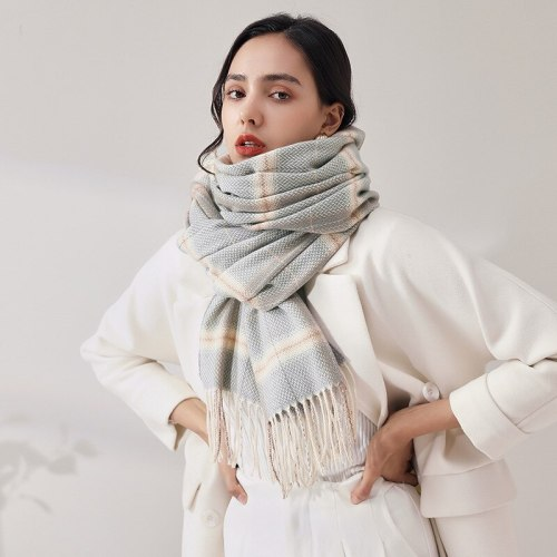 Plaid Scarf Winter Warm Cashmere Women Long Scarves 2021 Design Brand Pashmina Tassel Shawl Wraps Female Foulard
