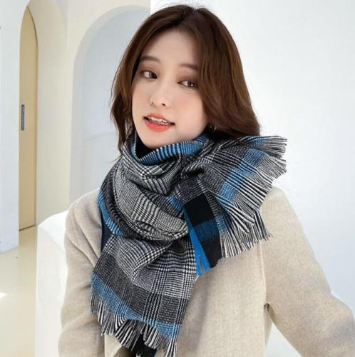 Color Matching Cashmere Plaid Scarf Women New Style for Autumn Winter Thick Warm Tassels Long Shawl British Fashion Scarf women