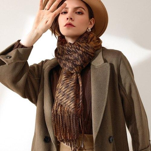 2021 New Brand Thick Cashmere Women Scarf Winter Warm Pashmina Lady Shawls Wraps Striped Print Blanket Scarves Female