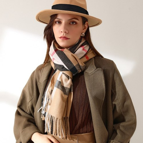 Autumn and Winter New Scarf Female British Bagh Bristled Cashmere Scarf Shawl Dual-use Thick Couple Scarf  70*180cm