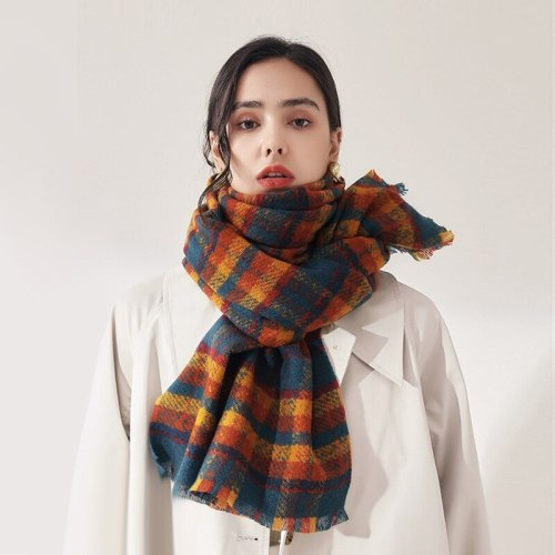 New Winter Check Scarf For Woman Female Shawls Cashmere Handfeeling Winter Wraps Plaid  Ladies Wholesale