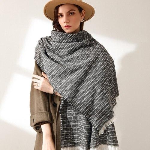 Fashion Imitation Cashmere Women Vintage Plaid Stripe Scarf Winter Warm Shawl Long Wrap knit Sweet Casual Female Thick Blanket
