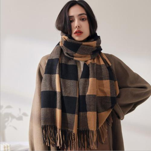 2021 Imitation cashmerePlaid women's scarf autumn and winter new fashion,warm and thickened outer Cape scarf women winter