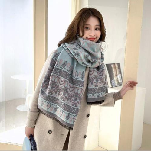 Fabulous Print Silk Cashmere Blanket Scarf Wraps Cape for Women Winter Scarves Poncho