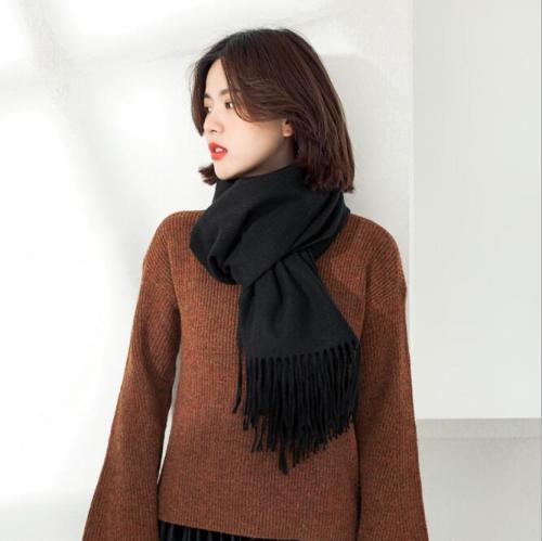 Oversized Wool Scarf Shawl Female Warm Soild Color Autumn Winter Women Scarf Long Pashmina Men Women Wrap Scarves 2021