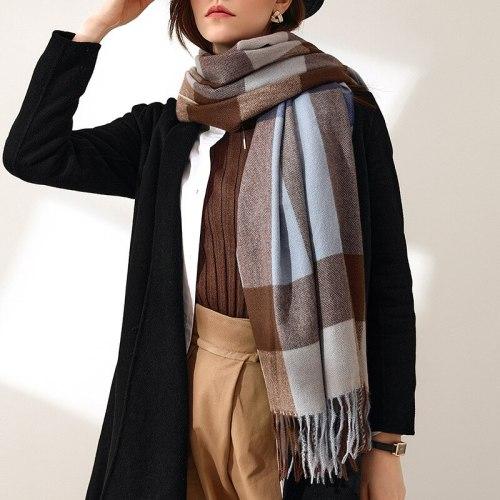 2021 Fashion cashmere plaid women scarf autumn winter warm shawl wrap bandana pashmina long tassel female foulard thick blanket