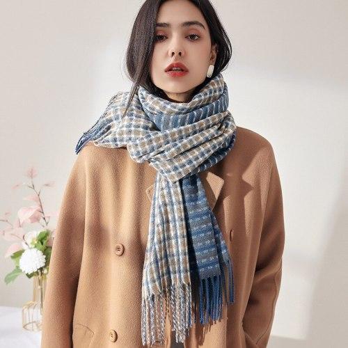 Scarf Female Autumn Winter 2021 New Imitation Cashmere Scarf Floral Plaid Scarf Warm Scarf For Women