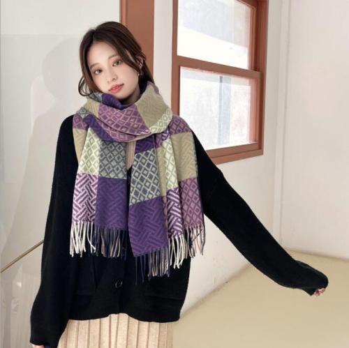 Autumn Winter Female Wool Scarf Women Cashmere Scarves Wide Lattices Long Shawl Wrap Blanket Warm Tippet wholesale