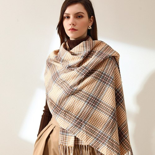 Classic Scarves and Shawls Winter Plaid Double-sided Imitation Cashmere Scarf Women Thick Blanket Pashmina Foulard  Neckerchief