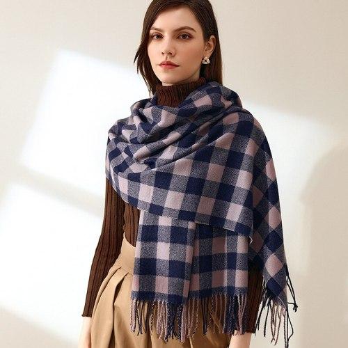 Plaid Scarf Winter Warm Cashmere Women Long Pashmina Foulard Female Scarves Tassel Shawl And Wraps 2021 Design