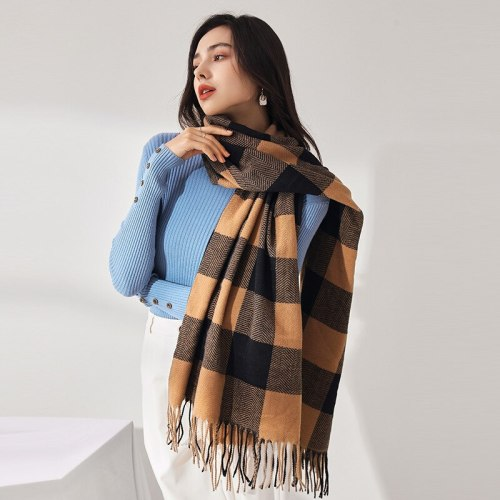 2021 Winter Cashmere Scarf Plaid Print Thick Blanket Women Shawl And Wraps Hijab Ladies Pashmina Neckerchief