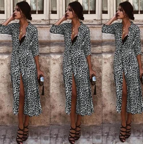Fashion Leopard Lapel Long Sleeve Cardigan