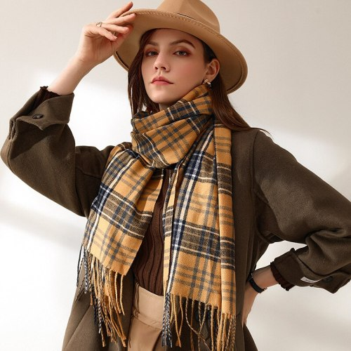 Autumn and Winter New Scarf Female British Bagh Bristled Cashmere Scarf Shawl Dual-use Thick Couple Scarf