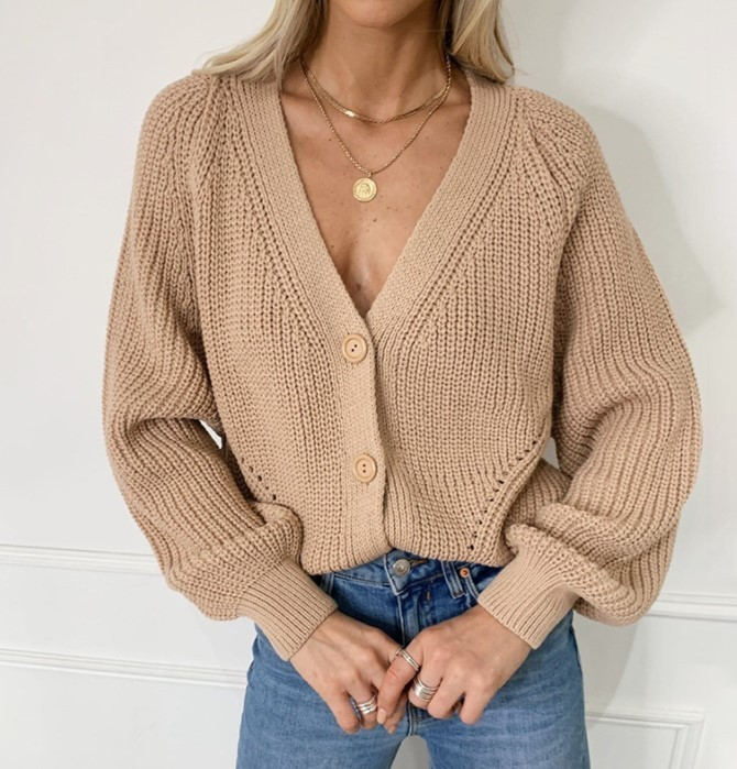 Casual V-Neck Solid Color Sweater
