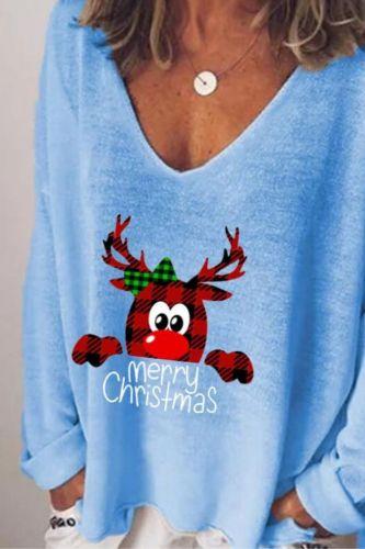 Women Winter Fashion Christmas v-Neck Long Sleeve T-Shirts Office Lady Loose Casual Cute Cartoon Crab Tee Female Streetwear Tops
