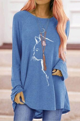 Casual Sport Autumn T-Shirts Women Long Sleeve Cat Print Fashion Cotton Tee Lady Loose Round-Neck Running Workout T-Shirt Top