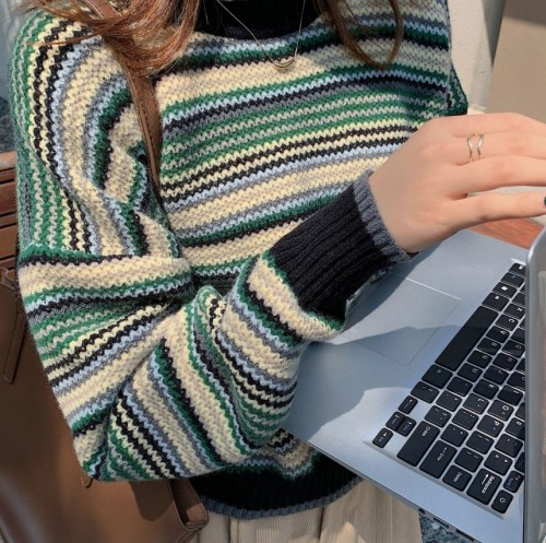 Long Sleeve Color-Block Tribal Sweaters