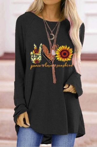 2021 Hot shirts women Fashion Casual Print O-Neck Loose Long Sleeve T-shirt Top Pullover clothes