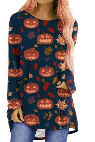 2021 New Autumn Women Shirts Halloween Pumpkin Ghost Printed Top Tee O-neck Long Sleeved Casual Sweatshirts Oversize Streetwear
