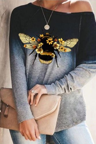 2021 women O-Neck gradient elements Funny little bee printing long sleeve T-shirt street fashion hip hop casual T-shirt
