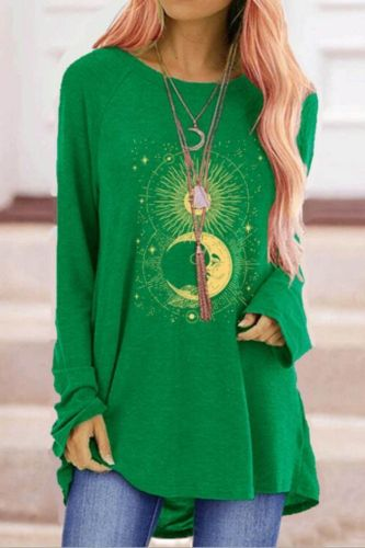 Cartoon Sun Moon T-shirts Women's Autumn Printed Long Sleeve T-shirts Round-Neck Long Style Plus Size Tops clothes