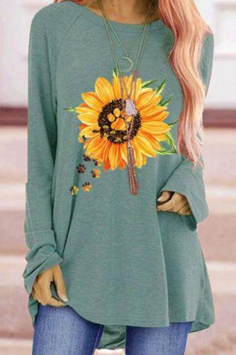 Sunflower Baw Print Women's T-shirts Autumn Loose Round Neck Oversized T-shirt Long Sleeve T-shirt