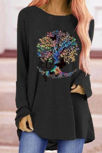 Butterfly Gothic Printed Women T-shirts Spring Autumn Round Neck Top women Long Sleeve Oversized T-shirt clothes