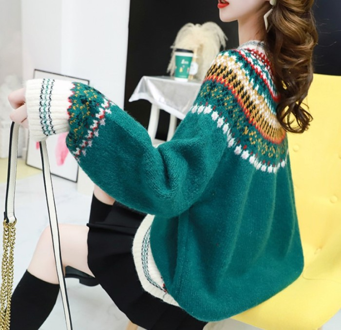 Long Sleeve Round Neck Cotton-Blend Vintage Sweaters