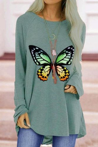2021 Autumn Top Women O-Neck Colorful Butterfly Printing Long Sleeve T-shirt Street Fashion Hip Hop Casual Loose T-shirt
