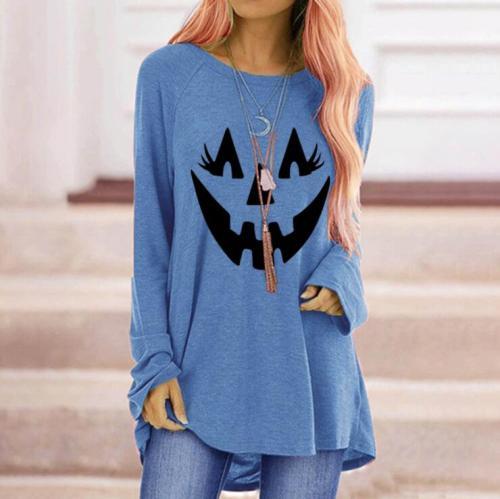 Halloween Shirts Pumpkin Smile Face Print Blouse Women Loose O-neck Oversize Long Sleeve Tops Elegant Fashion Blouse