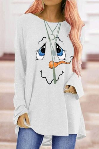 Cute Christmas Snowman Cartoon T-Shirt Large Size Ladies Printed Casual Pullover Elegant Top Long Sleeve O-Neck Long T-Shirt