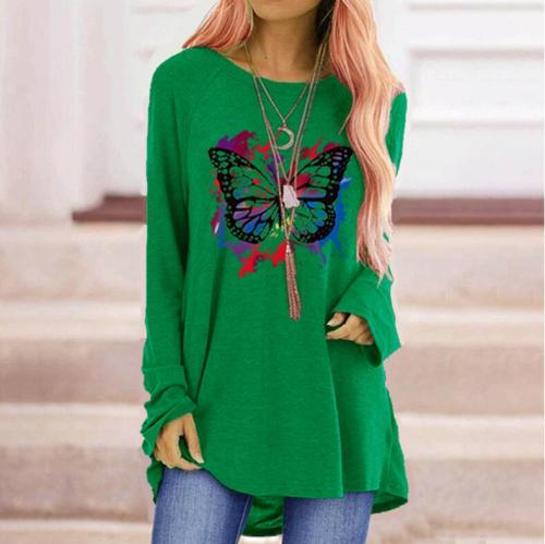 Fashion Butterfly Print Women Sweatshirts Loose O-neck Long Sleeve Women's T-shirt Plus Size Oversized T-shirt