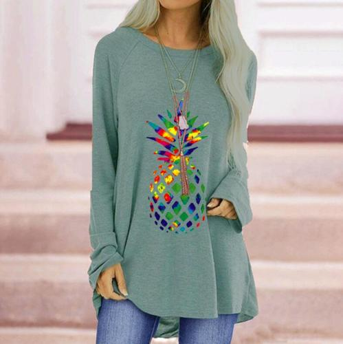 Colorful Pineapple Print T-shirt for Woman Oversize Full Sleeve Round Neck Long Top Clothes Casual Loose Irregular Fashion Tees