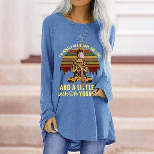 Newest woman T-shirts Fashion  Casual Print O-Neck Loose Long Sleeve T-shirt Top Pullover clothes