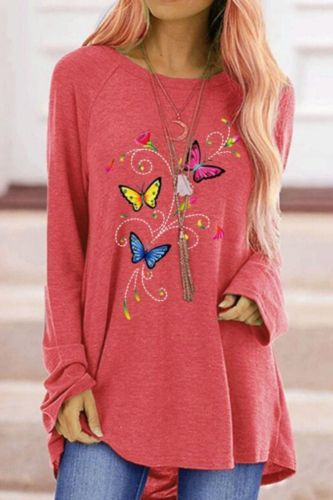 Oversized T-shirt Autumn Women's Colorful Butterfly Print Female Tops Shirt Loose Round Neck Long Sleeve T-shirt clothes Clothing