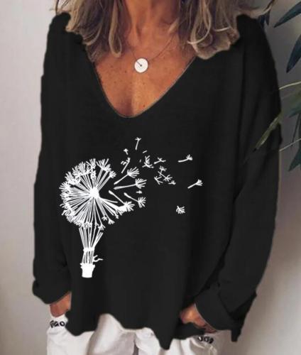 Women T-Shirt Dandelion Printing Summer Autumn Long Sleeve V-neck Casual Plus Size T-shirt Elegant Pullover Tops