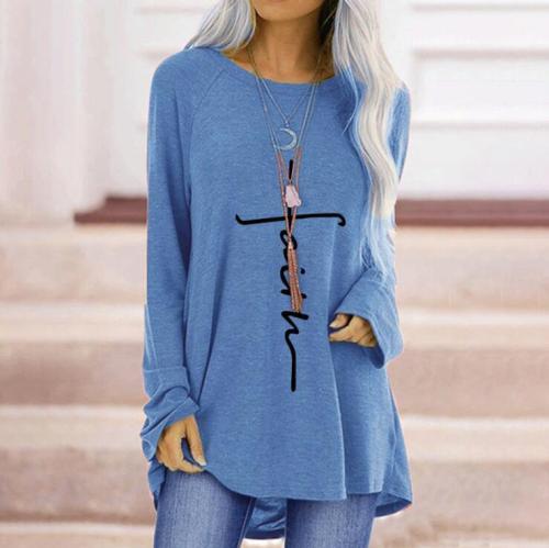 Loose T Shirt Women Cotton Blend T Shirt Plus Size O-neck Long Sleeve Ladies Top Casual Loose Long Women's t Shirt Top