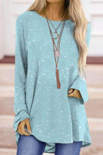 Autumn New Fashion Ladies Solid Color Snowflake Background Printed Top Multicolor Casual Loose Street Plus Size Women Clothing
